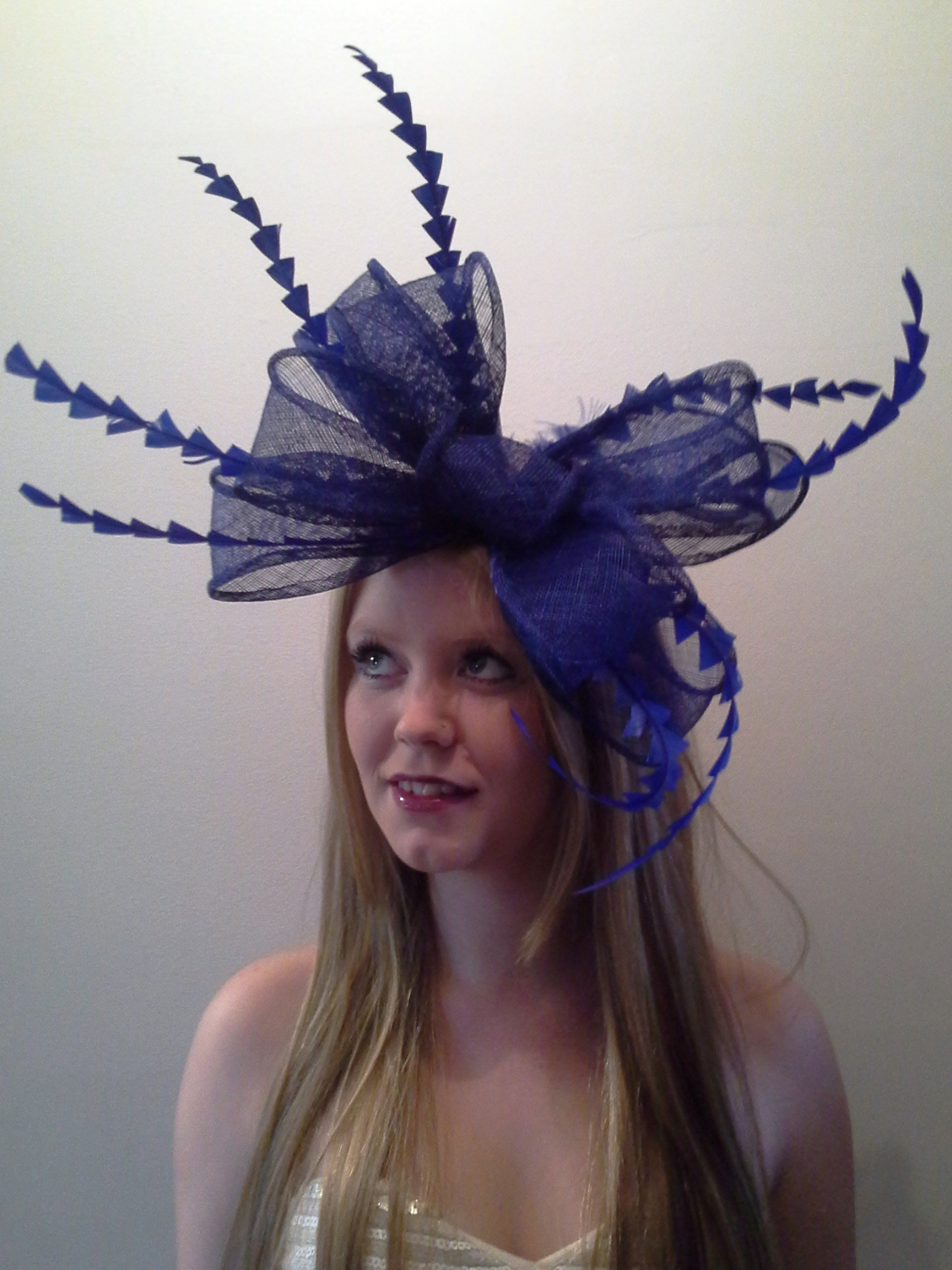 Navy Blue Feather Fascinator With Large Sinamay Loops  cb0869e77c2